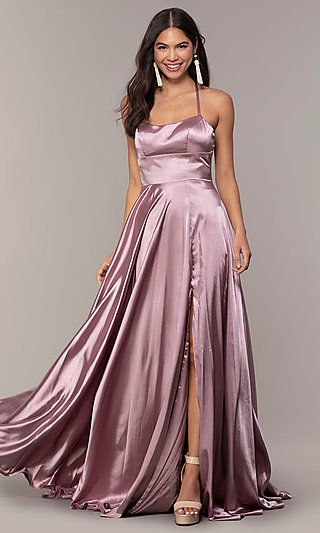 Long Open-Back Satin Formal Gown with Pockets