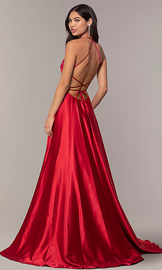 Faviana Long Open-Back Satin Formal Dress with Pockets