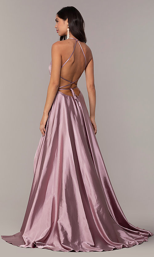 Image of Faviana long open-back satin formal dress with pockets. Style: FA-S10211 Detail Image 2