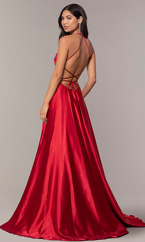 Image of Faviana long open-back satin formal dress with pockets. Style: FA-S10211 Front Image