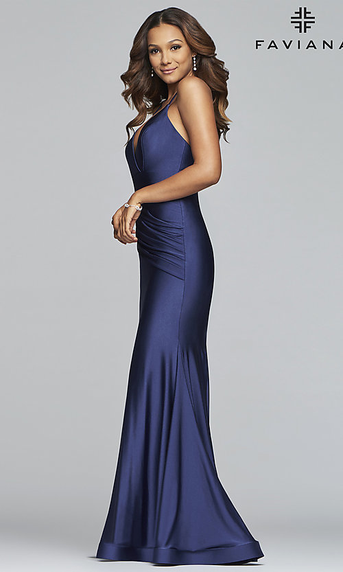 Image of long classic Faviana mermaid formal evening dress. Style: FA-S10212 Detail Image 3