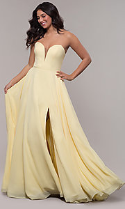 Image of strapless long a-line corset-back formal dress. Style: FA-S10232 Detail Image 4