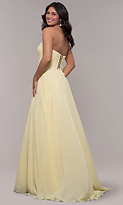 Image of strapless long a-line corset-back formal dress. Style: FA-S10232 Detail Image 5