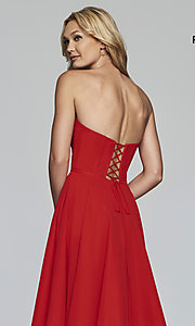 Image of strapless long a-line corset-back formal dress. Style: FA-S10232 Detail Image 2