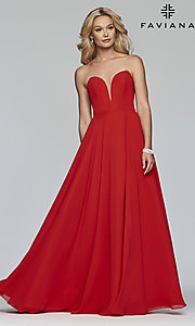 Image of strapless long a-line corset-back formal dress. Style: FA-S10232 Detail Image 3