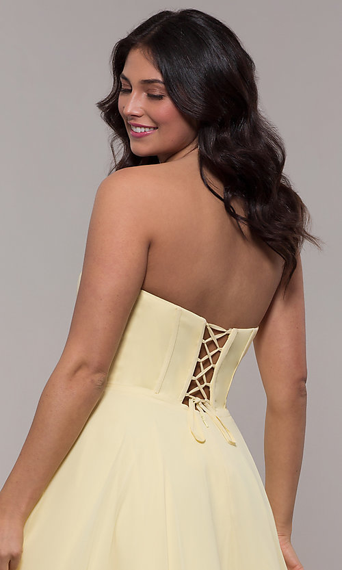 Image of strapless long a-line corset-back formal dress. Style: FA-S10232 Detail Image 7