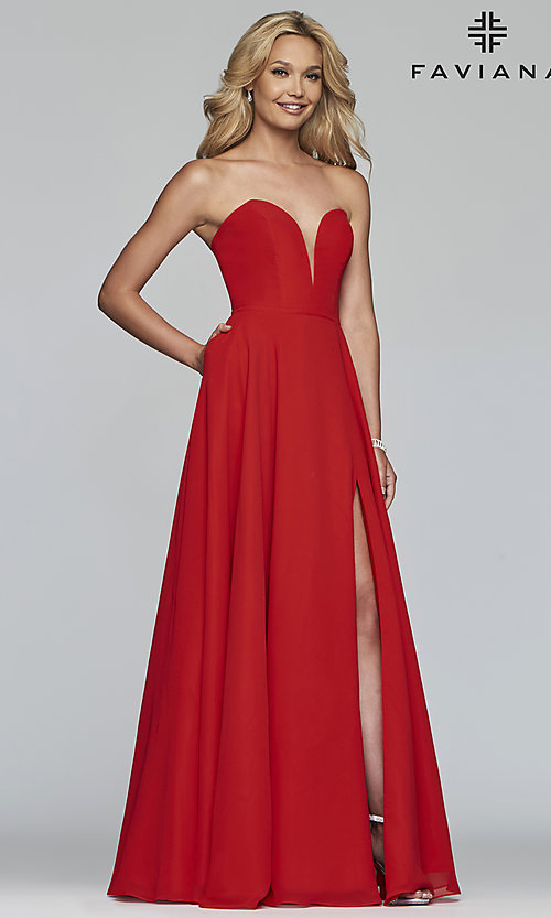 Image of strapless long a-line corset-back formal dress. Style: FA-S10232 Front Image