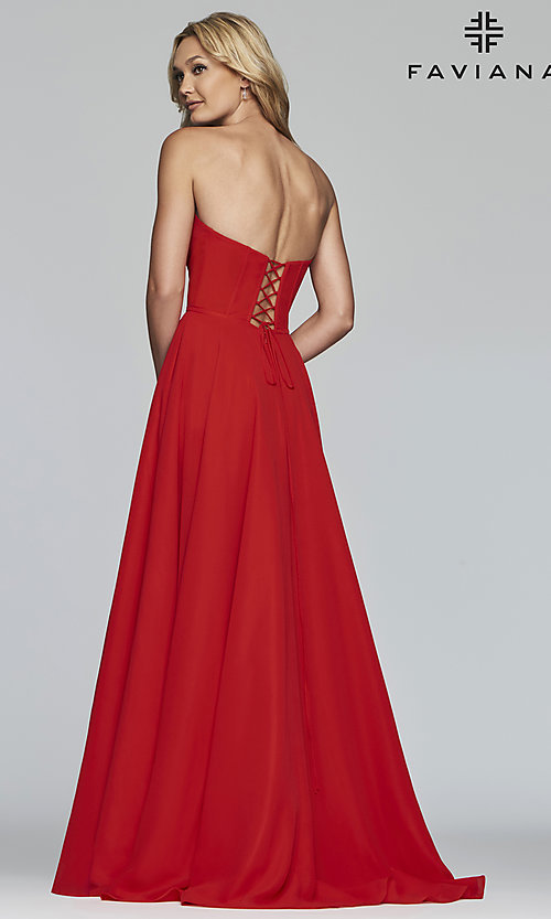Image of strapless long a-line corset-back formal dress. Style: FA-S10232 Back Image