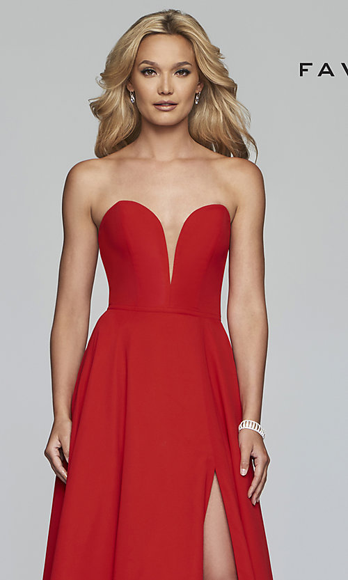 Image of strapless long a-line corset-back formal dress. Style: FA-S10232 Detail Image 1