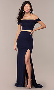 Image of two-piece off-shoulder long prom dress with slit. Style: FA-S10262 Front Image