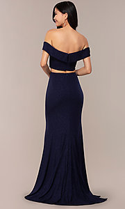 Image of two-piece off-shoulder long prom dress with slit. Style: FA-S10262 Back Image