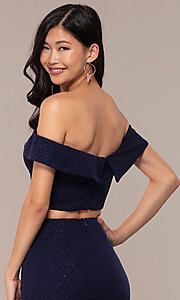 Image of two-piece off-shoulder long prom dress with slit. Style: FA-S10262 Detail Image 2