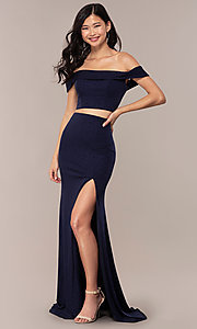 Image of two-piece off-shoulder long prom dress with slit. Style: FA-S10262 Detail Image 3