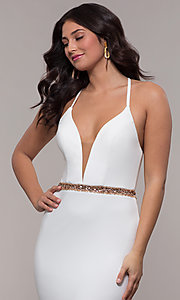 Image of Faviana long ivory formal dress with beaded waist. Style: FA-S10266 Detail Image 1