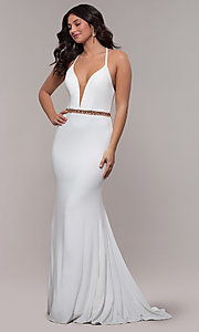 Image of Faviana long ivory formal dress with beaded waist. Style: FA-S10266 Detail Image 3