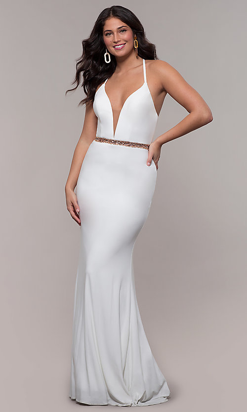 Image of Faviana long ivory formal dress with beaded waist. Style: FA-S10266 Back Image