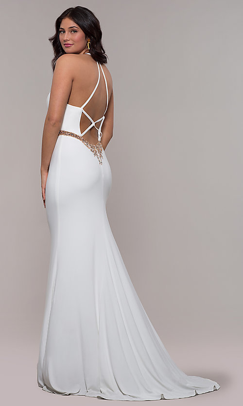 Image of Faviana long ivory formal dress with beaded waist. Style: FA-S10266 Front Image