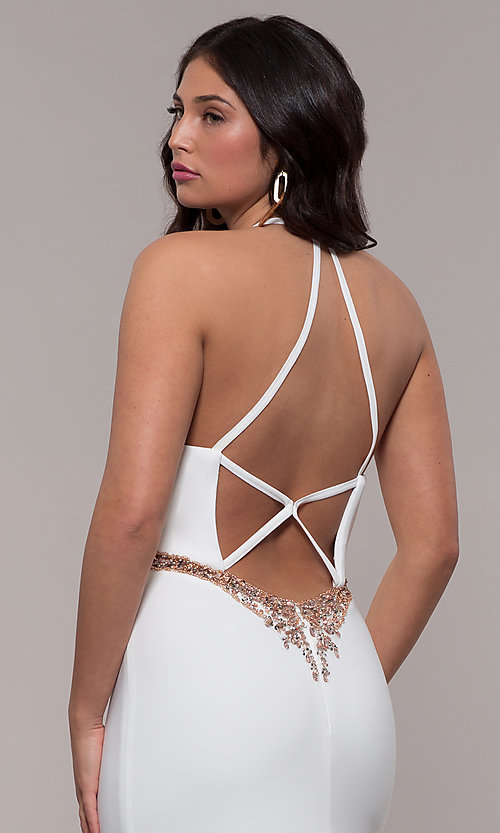 Image of Faviana long ivory formal dress with beaded waist. Style: FA-S10266 Detail Image 2