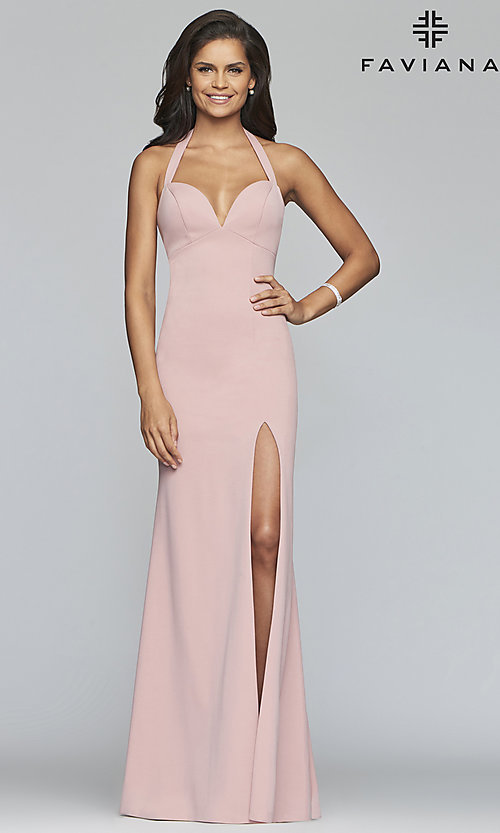 Image of Faviana empire-waist long halter formal dress. Style: FA-S10284 Front Image