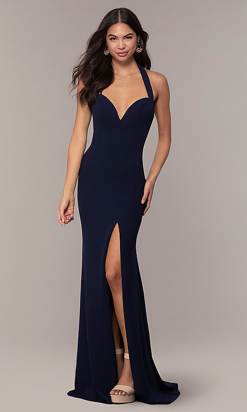 Image of Faviana empire-waist long halter formal dress. Style: FA-S10284 Detail Image 7