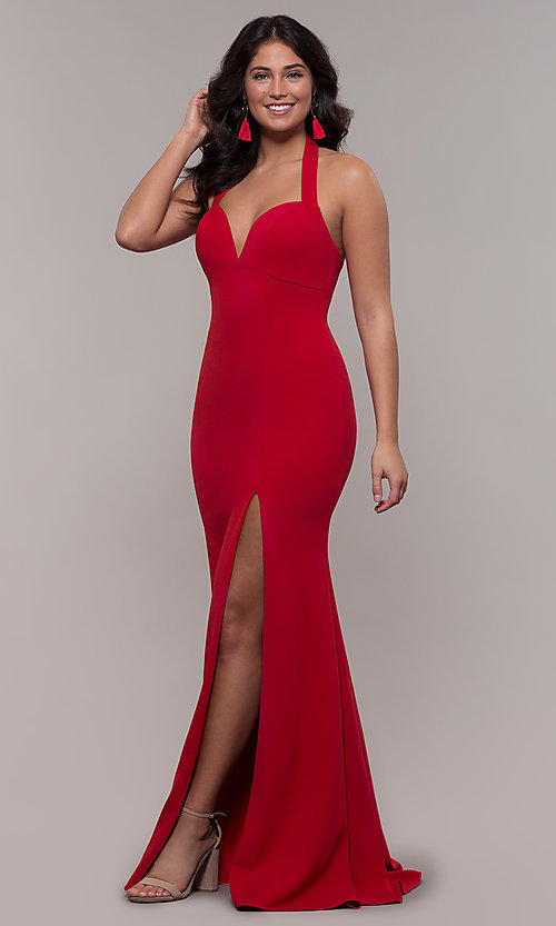 Image of Faviana empire-waist long halter formal dress. Style: FA-S10284 Detail Image 3