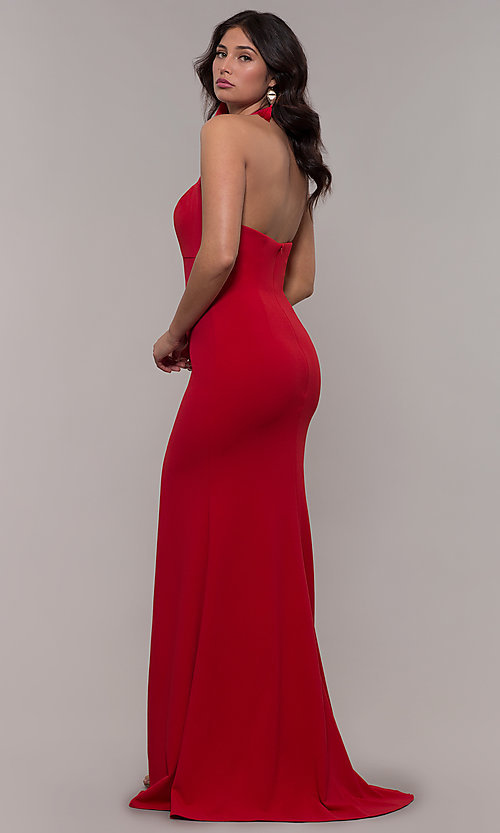 Image of Faviana empire-waist long halter formal dress. Style: FA-S10284 Detail Image 4