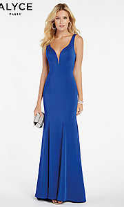 Image of long mermaid formal dress with caged open back. Style: AL-60280 Detail Image 6