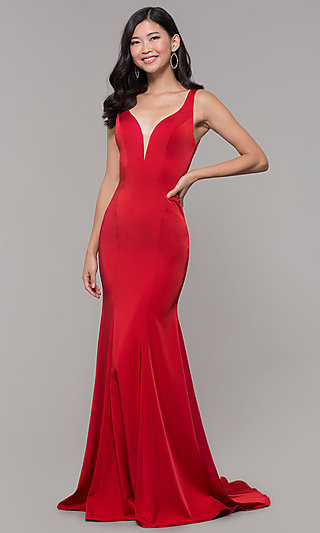 Long Mermaid Formal Prom Dress with Open Back and V-Neckline.
