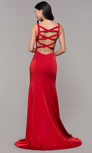 Long Mermaid Formal Dress with Caged Open Back