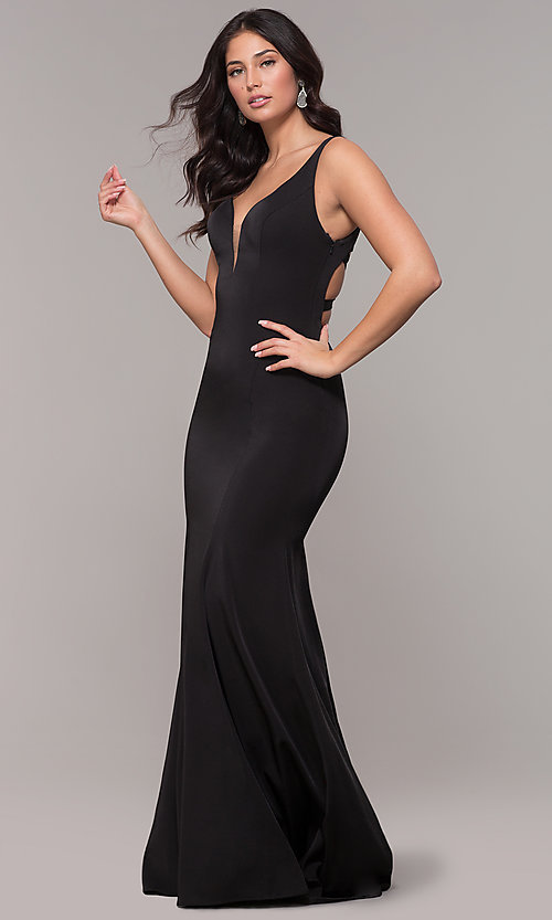 Image of long mermaid formal dress with caged open back. Style: AL-60280 Detail Image 3