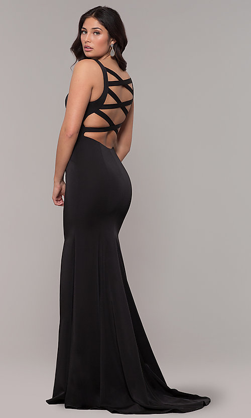 Image of long mermaid formal dress with caged open back. Style: AL-60280 Detail Image 4