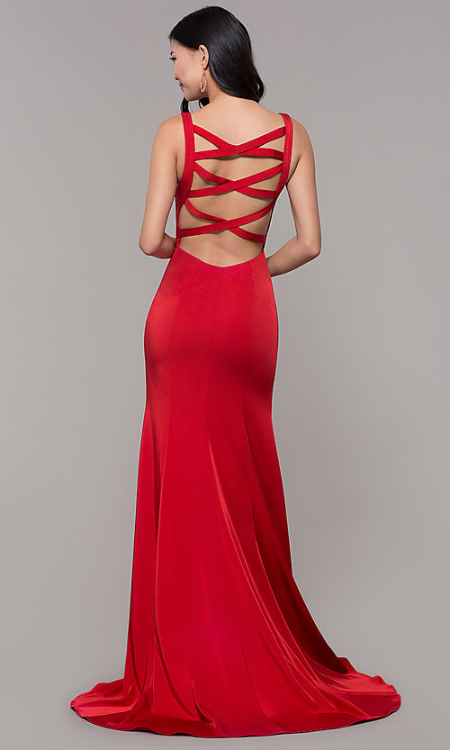 Image of long mermaid formal dress with caged open back. Style: AL-60280 Front Image