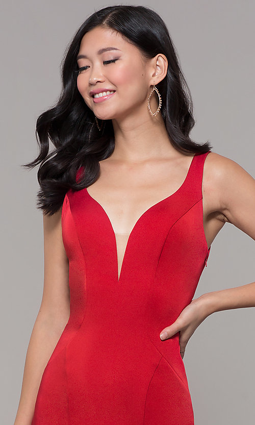 Image of long mermaid formal dress with caged open back. Style: AL-60280 Detail Image 1