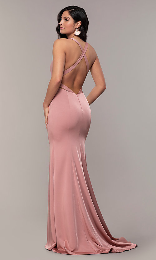Image of long v-neck Alyce formal dress with open back. Style: AL-60281 Front Image
