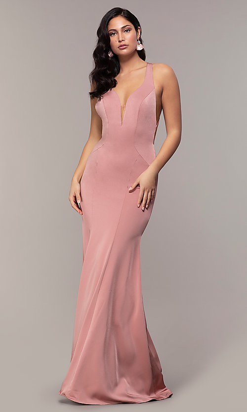 Image of long v-neck Alyce formal dress with open back. Style: AL-60281 Back Image