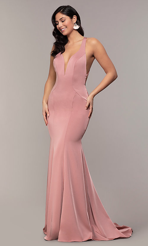 Image of long v-neck Alyce formal dress with open back. Style: AL-60281 Detail Image 3
