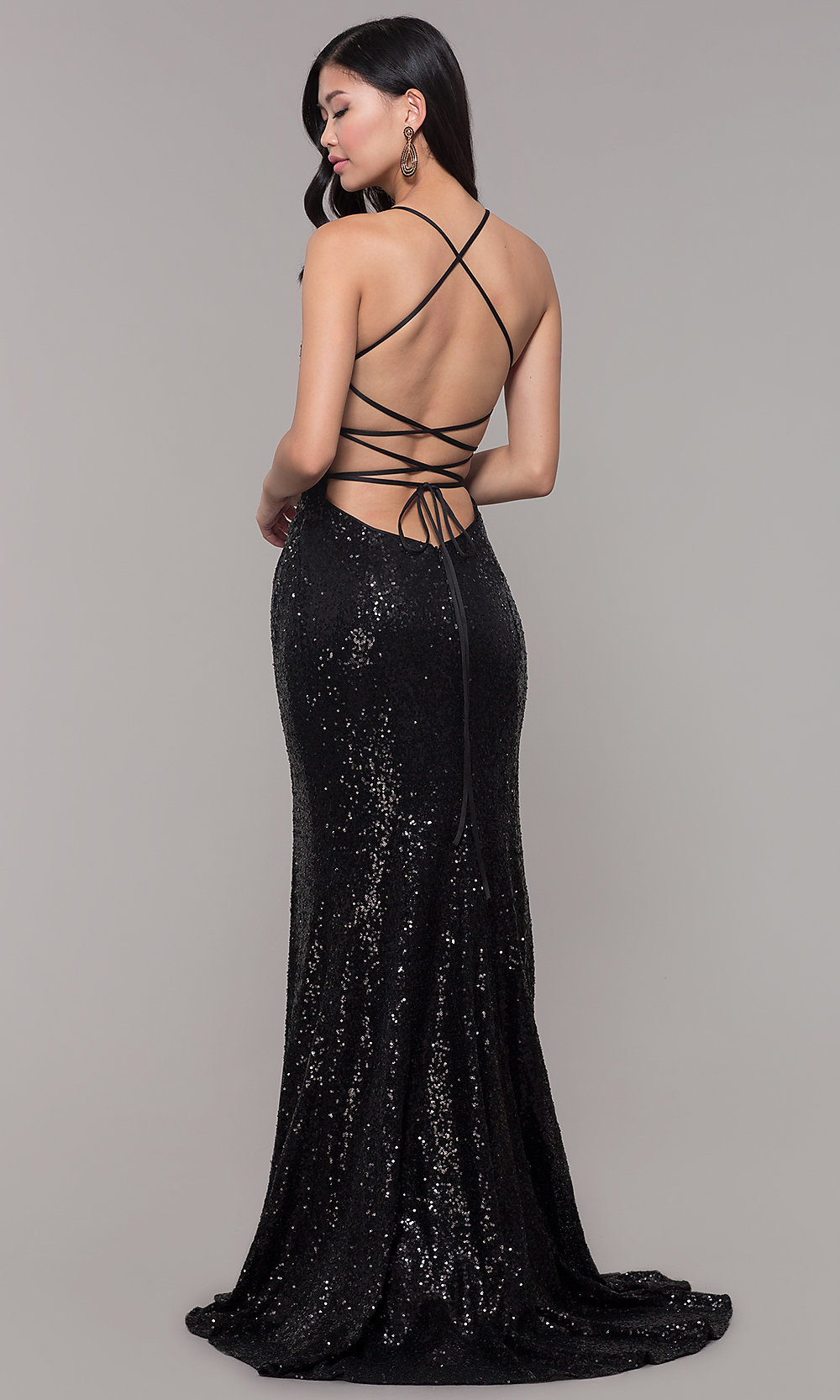 Sequined-Mesh V-Neck Long Formal Dress