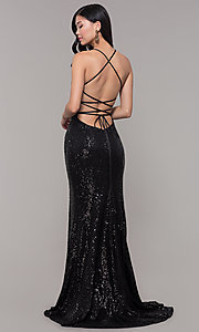 Image of sequined-mesh v-neck long formal dress. Style: AL-60304 Front Image