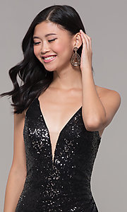 Image of sequined-mesh v-neck long formal dress. Style: AL-60304 Detail Image 1