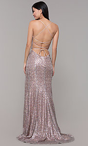 Image of sequined-mesh v-neck long formal dress. Style: AL-60304 Detail Image 5
