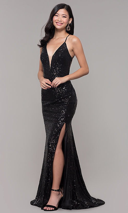 Image of sequined-mesh v-neck long formal dress. Style: AL-60304 Back Image