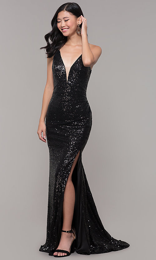 Image of sequined-mesh v-neck long formal dress. Style: AL-60304 Detail Image 3