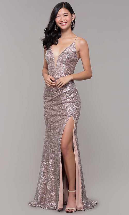 Image of sequined-mesh v-neck long formal dress. Style: AL-60304 Detail Image 4