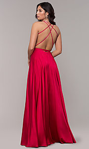 Image of open-back faux-wrap long formal dress with belt. Style: AL-60450 Back Image