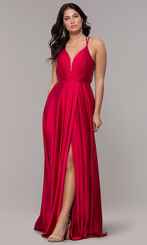 Image of open-back faux-wrap long formal dress with belt. Style: AL-60450 Front Image