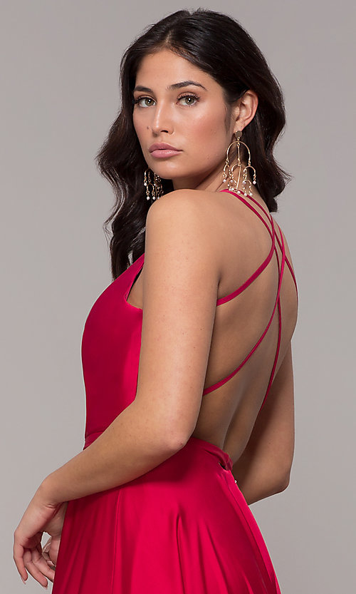 Image of open-back faux-wrap long formal dress with belt. Style: AL-60450 Detail Image 2