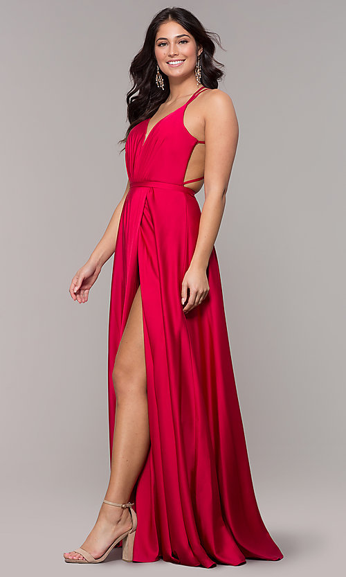 Image of open-back faux-wrap long formal dress with belt. Style: AL-60450 Detail Image 3