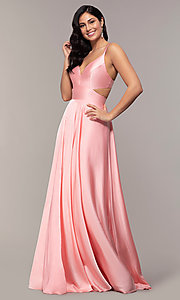 Image of Alyce long formal dress with back cut out. Style: AL-60453 Detail Image 3