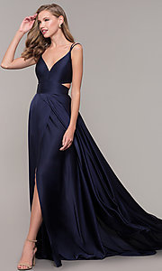 Image of Alyce long formal dress with back cut out. Style: AL-60453 Back Image