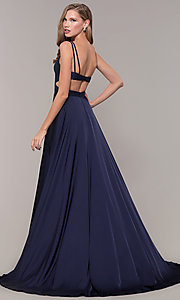 Image of Alyce long formal dress with back cut out. Style: AL-60453 Front Image
